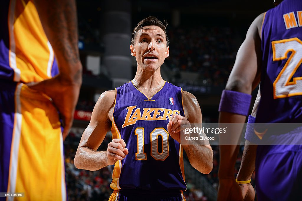 Steve Nash #10 of the Los Angeles Lakers reacts during the game against the Houston Rockets on January 8, 2013 at the Toyota Center in Houston, Texas.