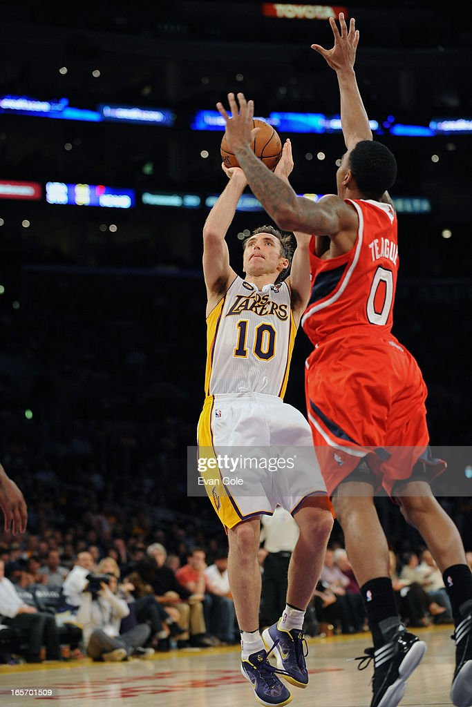 Steve Nash #10 of the Los Angeles Lakers takes a shot against the Atlanta Hawks at Staples Center on March 3, 2013 in Los Angeles, California.