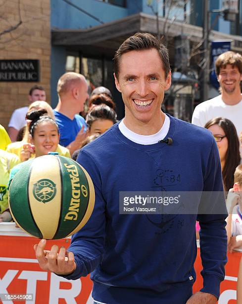 Steve Nash of the Los Angeles Lakers visits 'Extra' at The Grove on April 4 2013 in Los Angeles California