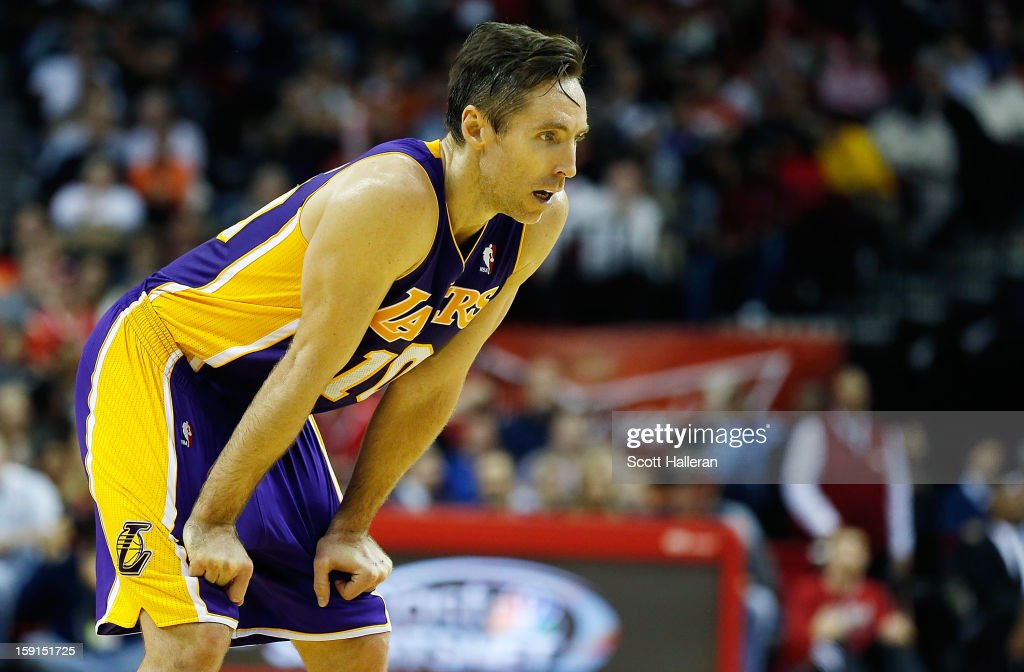 Steve Nash #10 of the Los Angeles Lakers waits on the court during the game against the Houston Rockets at Toyota Center on January 8, 2013 in Houston, Texas. Nash became just the fifth player in NBA history to reach 10,000 career assists Tuesday night.