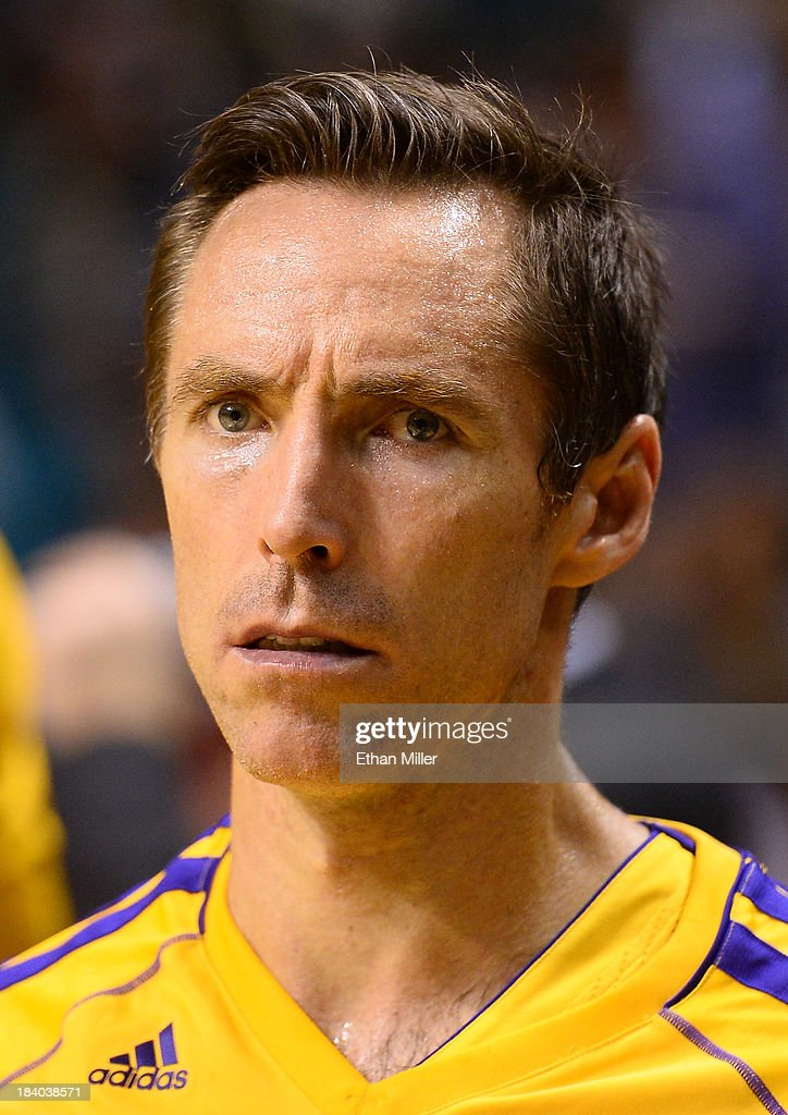 Steve Nash #10 of the Los Angeles Lakers waits to be introduced before a preseason game against the Sacramento Kings at the MGM Grand Garden Arena on October 10, 2013 in Las Vegas, Nevada. Sacramento won 104-86.