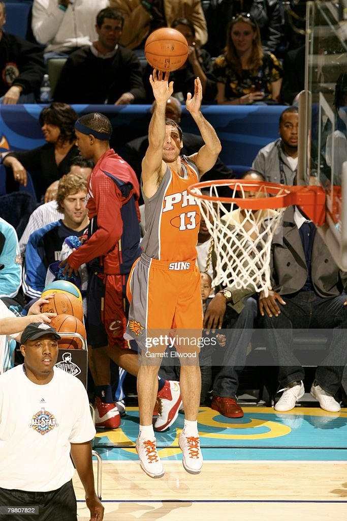 Steve Nash of the Phoenix Suns attempts a shot during the Foot Locker ThreePoint Shootout during AllStar Weekend on February 16 2008 at the New...