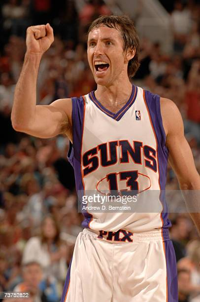 Steve Nash of the Phoenix Suns celebrates a basket against the Denver Nuggets at US Airways Center March 30 2007 in Phoenix Arizona NOTE TO USER User...