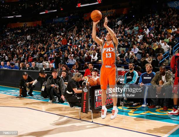 Steve Nash of the Phoenix Suns competes during the Foot Locker ThreePoint Shootout part of 2008 NBA AllStar Weekend at the New Orleans Arena on...