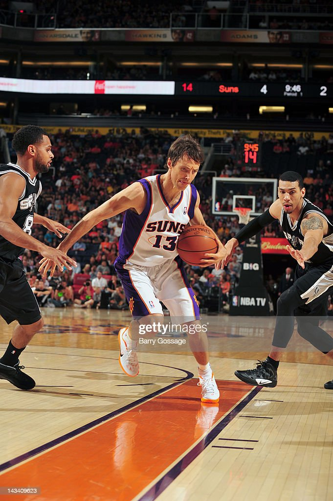<a gi-track='captionPersonalityLinkClicked' href=/galleries/search?phrase=Steve+Nash&family=editorial&specificpeople=201513 ng-click='$event.stopPropagation()'>Steve Nash</a> #13 of the Phoenix Suns drives against Patty Mills #8 of the San Antonio Spurs on April 25, 2012 at U.S. Airways Center in Phoenix, Arizona.