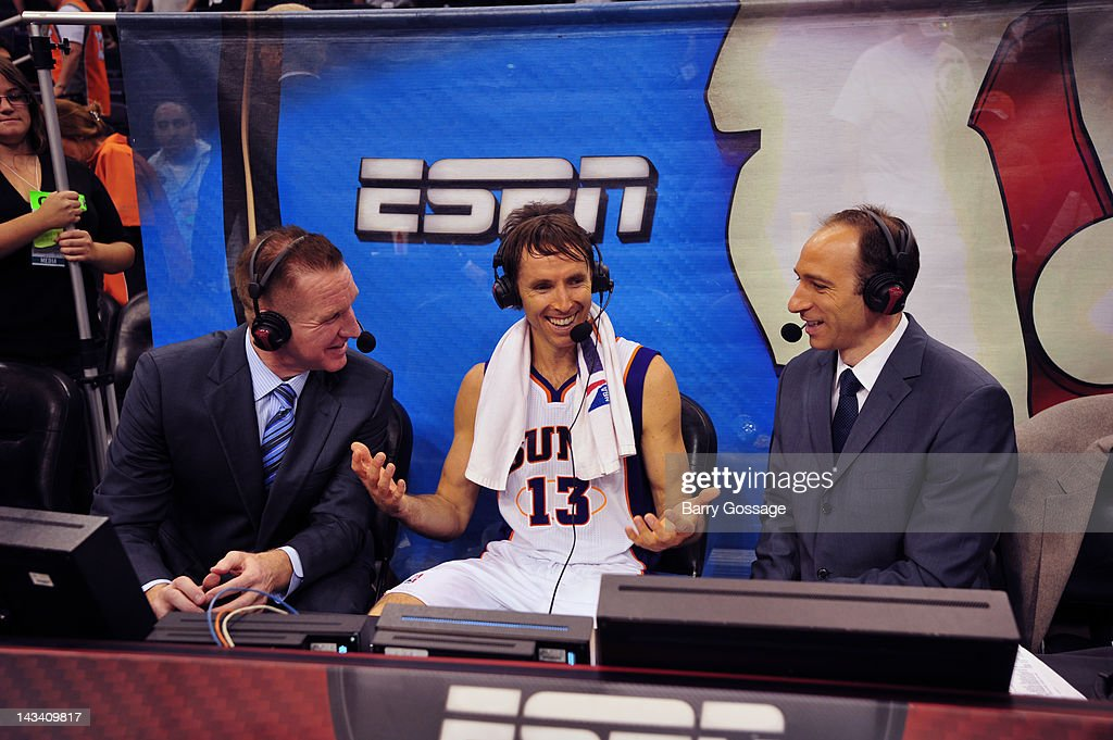 <a gi-track='captionPersonalityLinkClicked' href=/galleries/search?phrase=Steve+Nash&family=editorial&specificpeople=201513 ng-click='$event.stopPropagation()'>Steve Nash</a> #13 of the Phoenix Suns in a post game interview as the Suns host the San Antonio Spurs on April 25, 2012 at U.S. Airways Center in Phoenix, Arizona.
