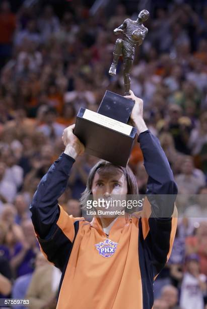 Steve Nash of the Phoenix Suns is presented with the Most Valuable Player trophy before game one of the Western Conference Semifinals against the Los...