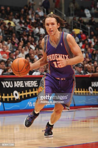 Steve Nash of the Phoenix Suns moves the ball against the Los Angeles Clippers during the game at Staples Center on October 28 2009 in Los Angeles...