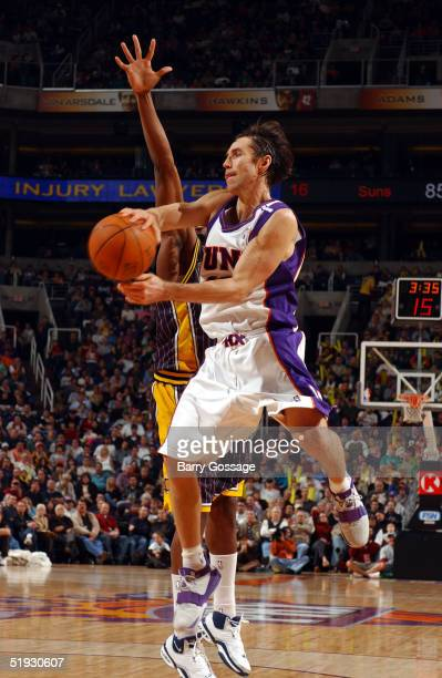 Steve Nash of the Phoenix Suns passes against the Indiana Pacers on January 9 2005 at America West Arena in Phoenix Arizona NOTE TO USER User...