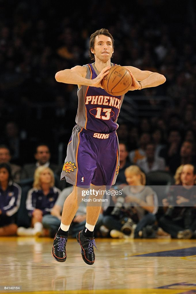 Steve Nash #13 of the Phoenix Suns passes the ball during the game against the Los Angeles Lakers on December 10, 2008 at Staples Center in Los Angeles, California. The Lakers won 115-110.