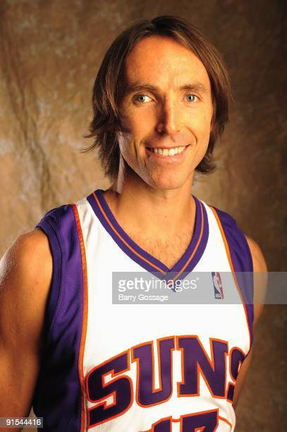 Steve Nash of the Phoenix Suns poses for a portrait during 2009 NBA Media Day on September 28 2009 at US Airways Center in Phoenix Arizona NOTE TO...