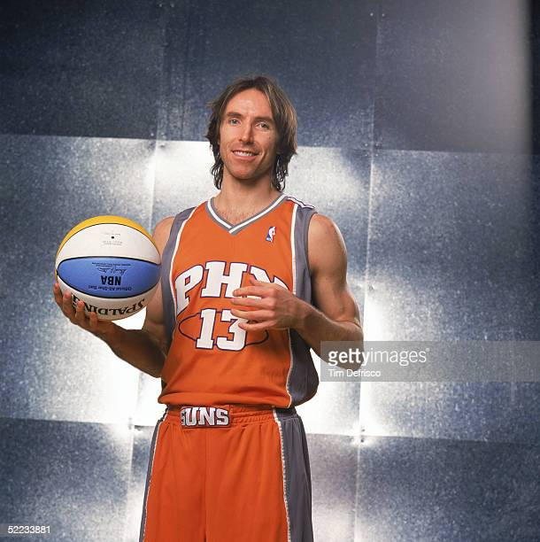 Steve Nash of the Phoenix Suns poses for a portrait prior to competing in the PlayStation Skills Challenge during 2005 NBA AllStar Weekend at Pepsi...