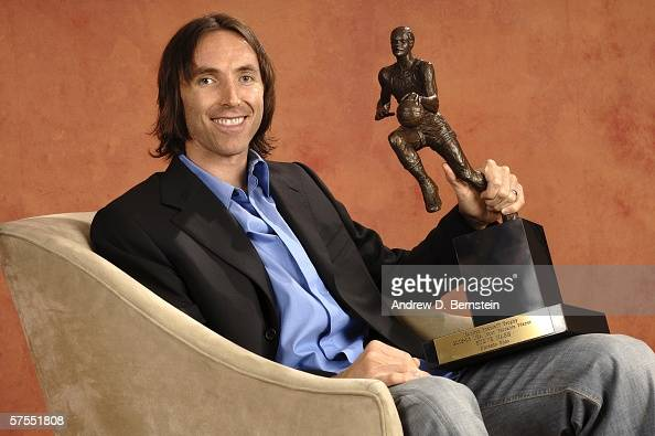 Steve Nash of the Phoenix Suns poses with the NBA Most Valuable Player award on May 7 2006 at US Airways Center in Phoenix Arizona NOTE TO USER User...