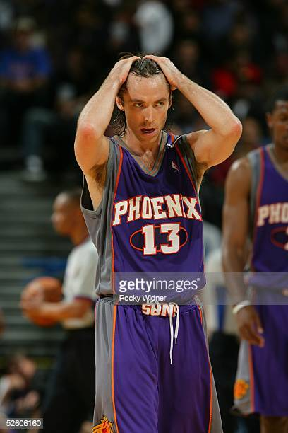 Steve Nash of the Phoenix Suns reacts against the Golden State Warriors April 8 2005 at the Oakland Arena in Oakland California NOTE TO USER User...