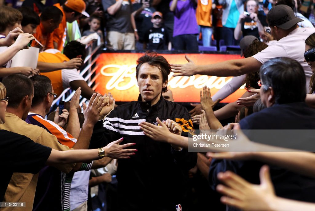 <a gi-track='captionPersonalityLinkClicked' href=/galleries/search?phrase=Steve+Nash&family=editorial&specificpeople=201513 ng-click='$event.stopPropagation()'>Steve Nash</a> #13 of the Phoenix Suns runs out onto the court before the NBA game against the San Antonio Spurs at US Airways Center on April 25, 2012 in Phoenix, Arizona.