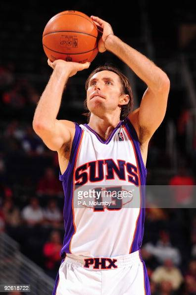 Steve Nash of the Phoenix Suns shoots a free throw against the Minnesota Timberwolves during the game on November 1 2009 at US Airways Center in...