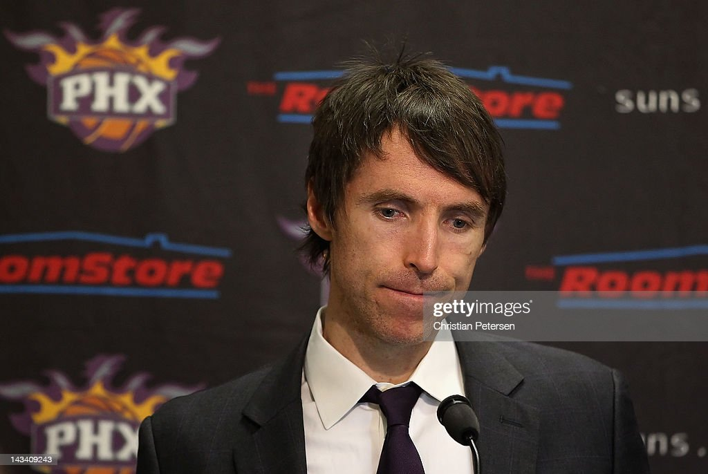 Steve Nash #13 of the Phoenix Suns speaks in a press conference following the NBA game against the San Antonio Spurs at US Airways Center on April 25, 2012 in Phoenix, Arizona. The Spurs defeated the Suns 110-106.