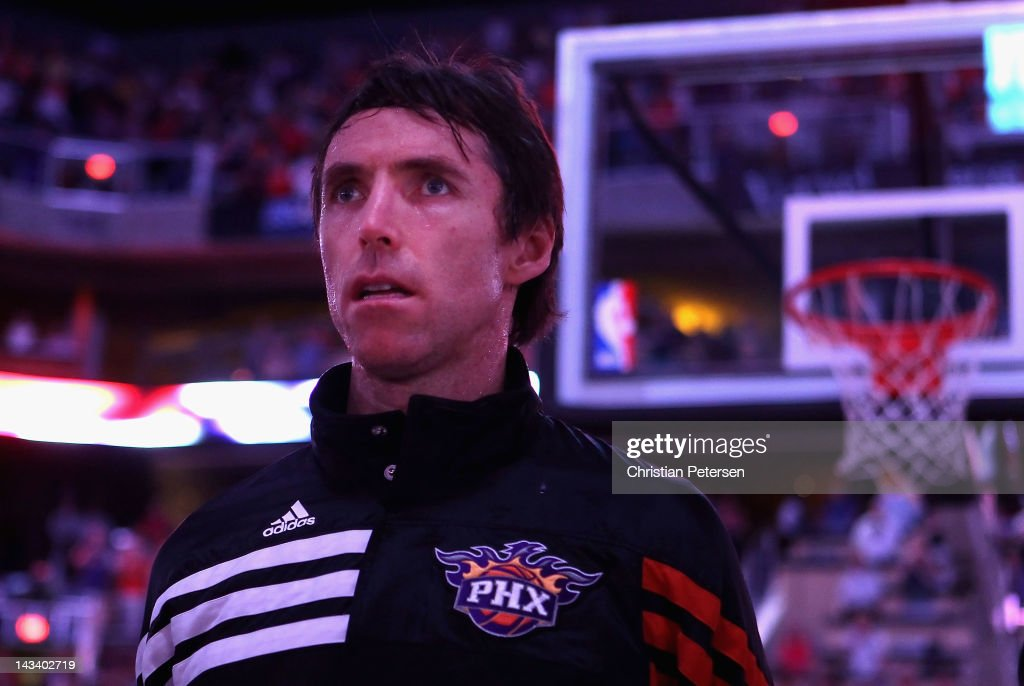 Steve Nash #13 of the Phoenix Suns stands attended for the National Anthem before the NBA game against the San Antonio Spurs at US Airways Center on April 25, 2012 in Phoenix, Arizona.