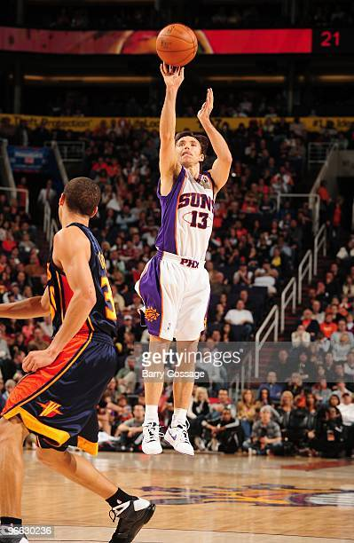 Steve Nash of the Phoenix Suns takes a jump shot against the Golden State Warriors during the game on January 23 2010 at US Airways Center in Phoenix...