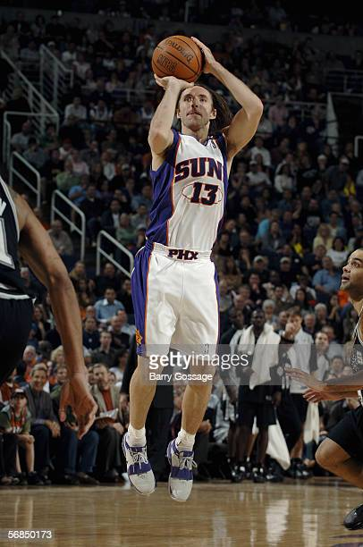 Steve Nash of the Phoenix Suns takes a jump shot during the game with the San Antonio Spurs on January 7 at US Airways Center in Phoenix Arizona The...