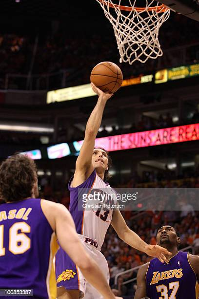 Steve Nash of the Phoenix Suns takes a shot against the Los Angeles Lakers in the second quarter of Game Four of the Western Conference Finals during...