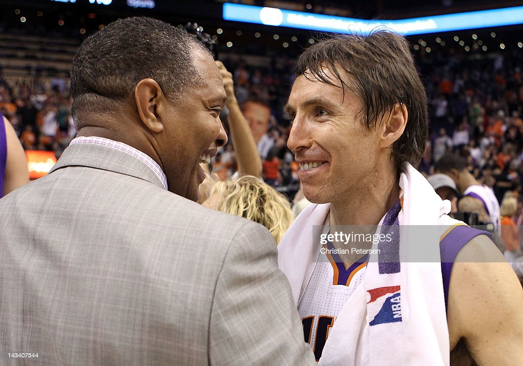 Steve Nash #13 of the Phoenix Suns talks with head coach Alvin Gentry following the NBA game against the San Antonio Spurs at US Airways Center on April 25, 2012 in Phoenix, Arizona. The Spurs defeated the Suns 110-106.