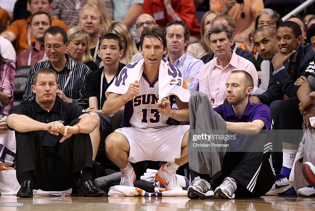 Steve Nash #13 of the Phoenix Suns watches from the bench during the NBA game against the San Antonio Spurs at US Airways Center on April 25, 2012 in Phoenix, Arizona. The Spurs defeated the Suns 110-106.