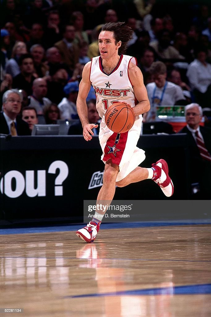 Steve Nash #13 of the Western Conference All-Stars drives against the Eastern Conference All-Stars during the 2005 All-Star Game on February 20, 2005 at The Pepsi Center in Denver, Colorado.