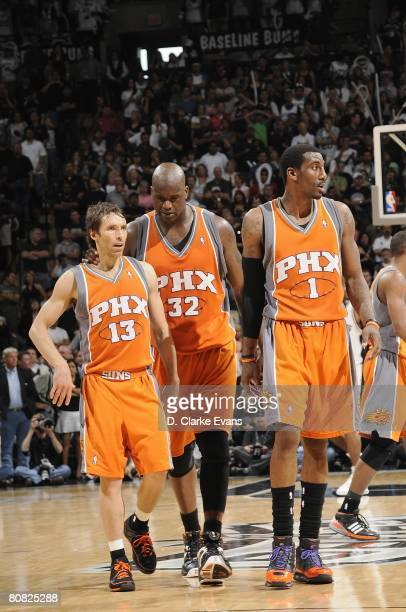 Steve Nash Shaquille O'Neal and Amare Stoudemire of the Phoenix Suns walk down the court in Game One of the Western Conference Quarterfinals against...