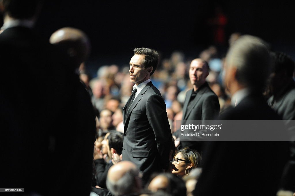 Steve Nash stands during the memorial service for Los Angeles Lakers Owner Dr. Jerry Buss at Nokia Theatre LA LIVE on February 21, 2013 in Los Angeles, California.