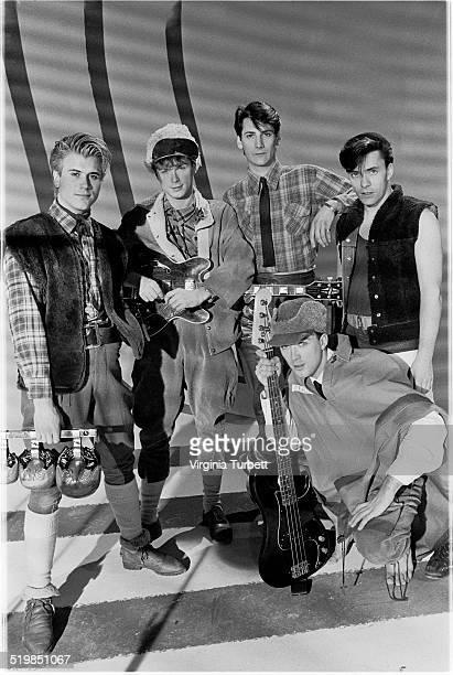 Steve Norman Gary Kemp Tony Hadley Martin Kemp John Keeble of Spandau Ballet during a video shoot for their single 'Instinction' 12th March 1982