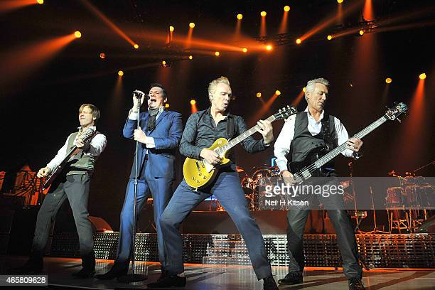 Steve Norman Tony Hadley Gary Kemp John Keeble and Martin Kemp Of Spandau Ballet at Nottingham Capital FM Arena on March 10 2015 in Nottingham England