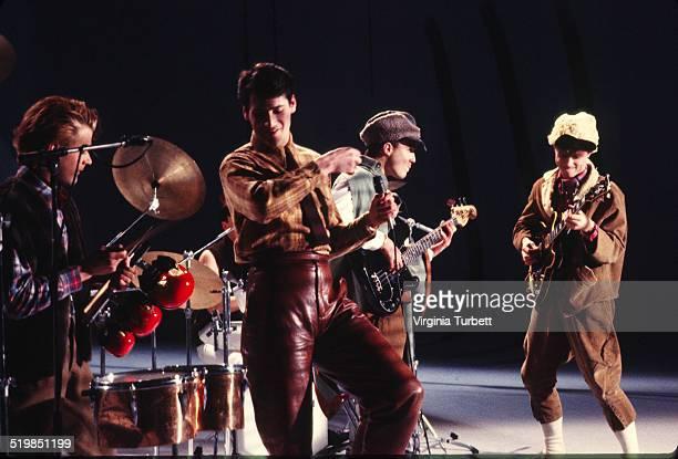 Steve Norman Tony Hadley Martin Kemp Gary Kemp of Spandau Ballet during a video shoot for their single 'Instinction' 12th March 1982