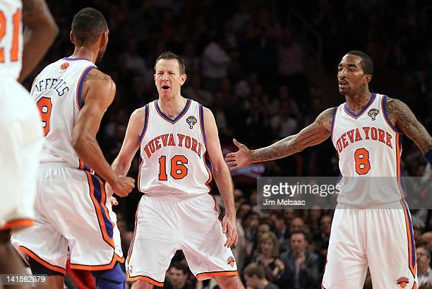 Steve Novak Jared Jeffries and JR Smith of the New York Knicks celebrate against the Portland Trail Blazers on March 14 2012 at Madison Square Garden...