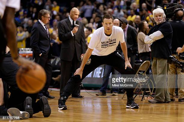 Steve Novak of the Milwaukee Bucks stretches before the game against the Los Angeles Lakers at BMO Harris Bradley Center on February 22 2016 in...