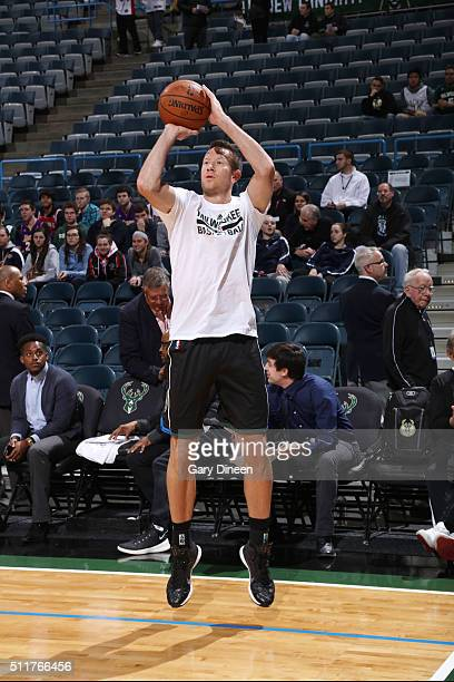 Steve Novak of the Milwaukee Bucks warms up before the game against the Los Angeles Lakers on February 22 2016 at the BMO Harris Bradley Center in...