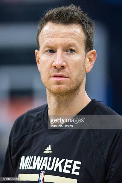 Steve Novak of the Milwaukee Bucks warms up before the game against the Orlando Magic at Amway Center on November 27 2016 in Orlando Florida NOTE TO...