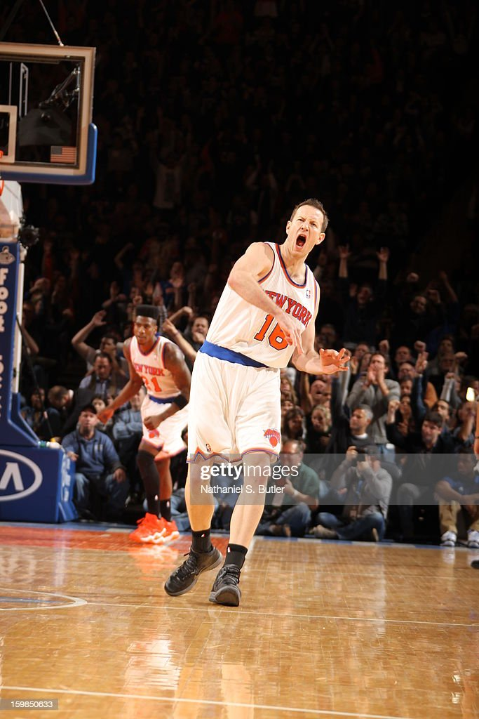Steve Novak #16 of the New York Knicks celebrates during the game against the Brooklyn Nets on January 21, 2013 at Madison Square Garden in New York City.