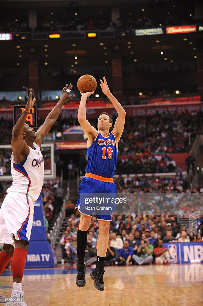 Steve Novak #16 of the New York Knicks goes for a jump shot during the game between the Los Angeles Clippers and the New York Knicks at Staples Center on March 17, 2013 in Los Angeles, California.