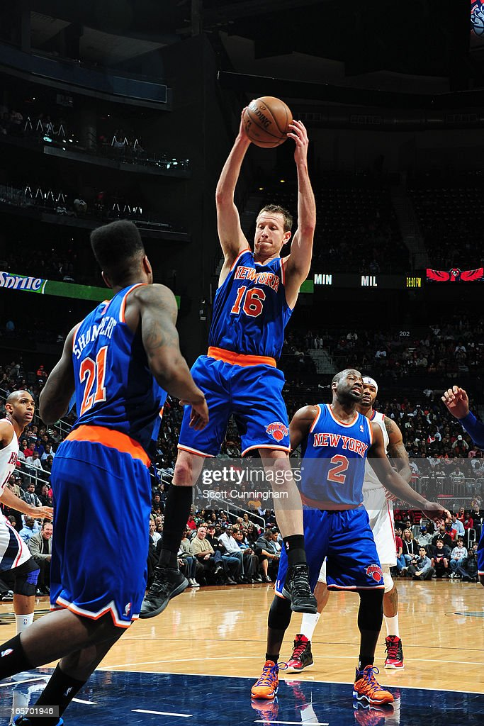 <a gi-track='captionPersonalityLinkClicked' href=/galleries/search?phrase=Steve+Novak&family=editorial&specificpeople=693015 ng-click='$event.stopPropagation()'>Steve Novak</a> #16 of the New York Knicks grabs a rebound against the Atlanta Hawks on April 3, 2013 at Philips Arena in Atlanta, Georgia.