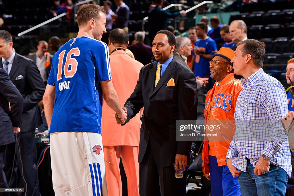 Steve Novak #16 of the New York Knicks greets ESPN analyst Stephen A. Smith before playing against the Boston Celtics in Game Five of the Eastern Conference Quarterfinals during the 2013 NBA Playoffs on May 1, 2013 at Madison Square Garden in New York City