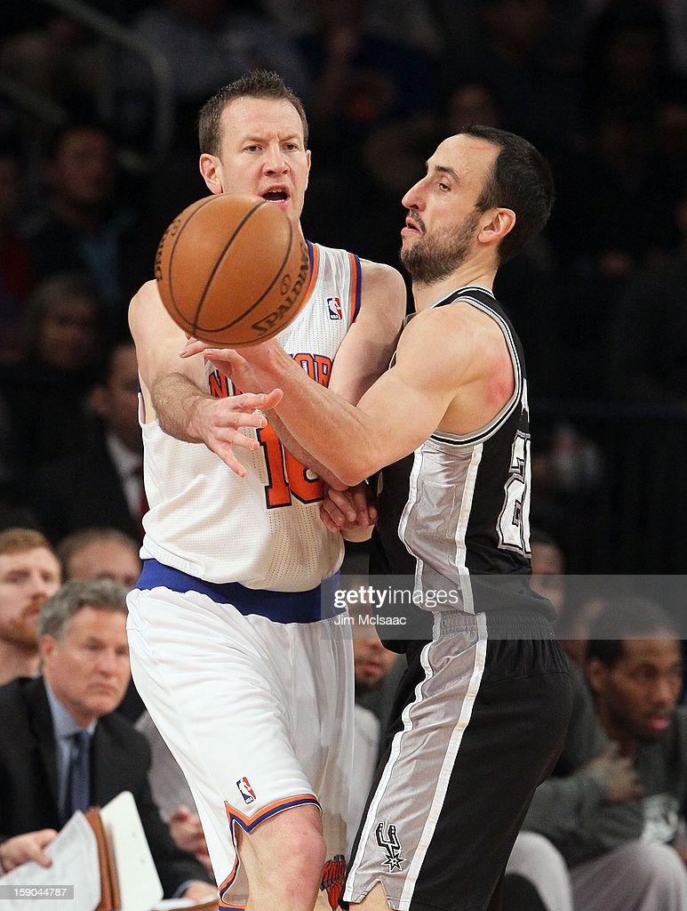 Steve Novak #16 of the New York Knicks in action against Manu Ginobili #20 of the San Antonio Spurs at Madison Square Garden on January 3, 2013 in New York City. The Knicks defeated the Spurs 100-83.