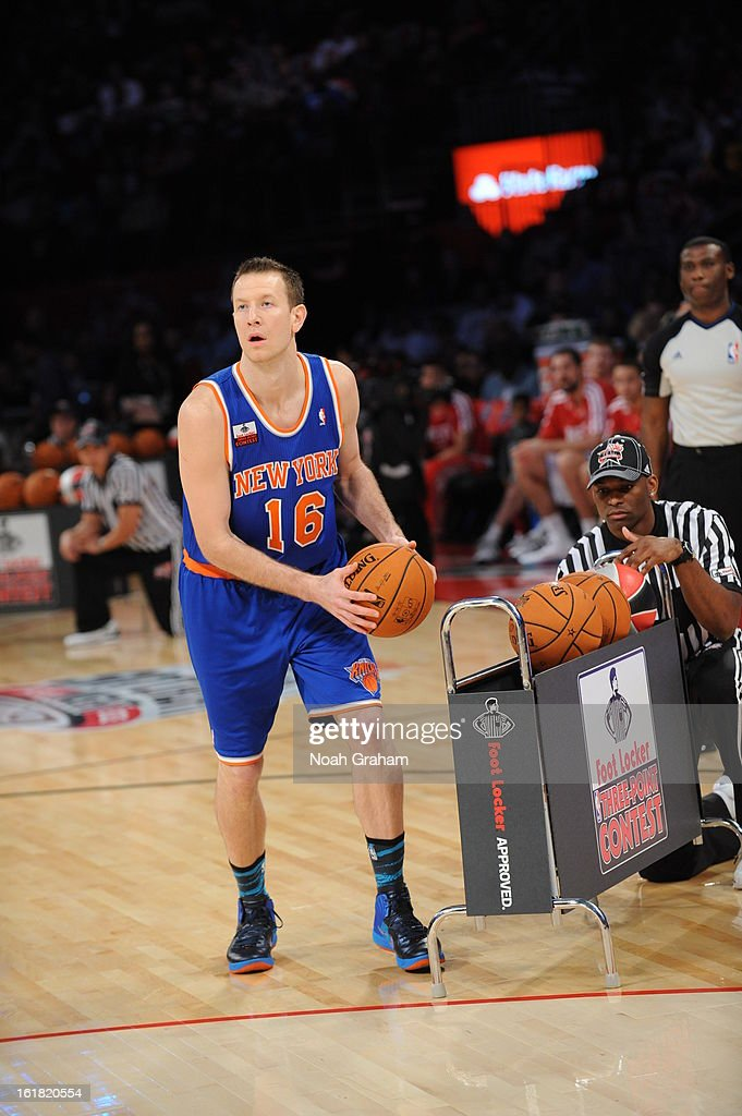 Steve Novak #16 of the New York Knicks participates during 2013 Foot Locker Three-Point Contest on State Farm All-Star Saturday Night as part of 2013 NBA All-Star Weekend on February 16, 2013 at Toyota Center in Houston, Texas.