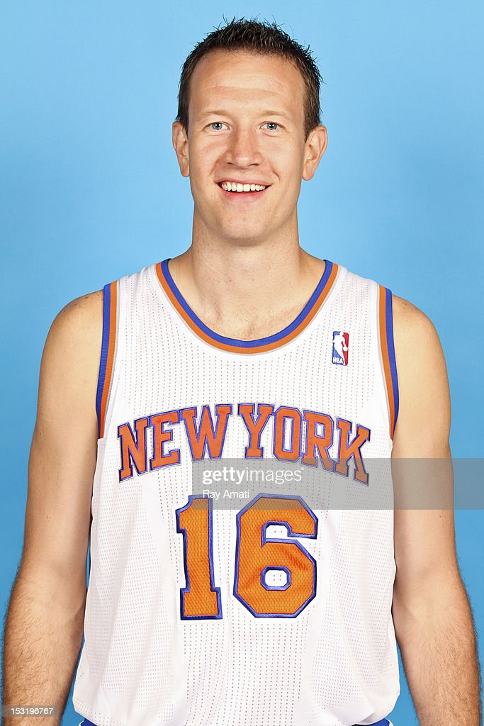 Steve Novak #16 of the New York Knicks poses for a photo during the New York Knicks Media Day on October 1, 2012 at the Madison Square Garden Training Center in Tarrytown, New York.