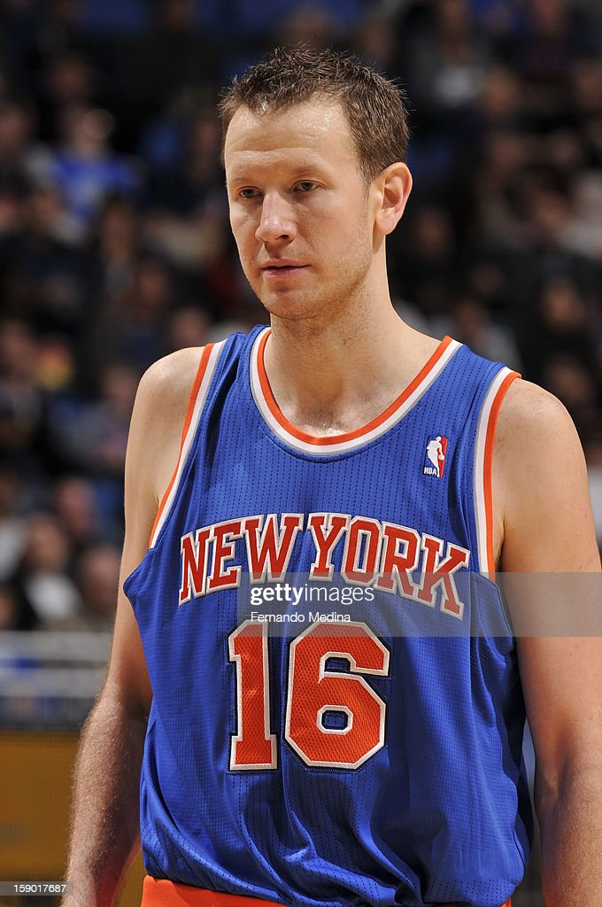 Steve Novak #16 of the New York Knicks rests during a break in the action against the Orlando Magic during the game on January 5, 2013 at Amway Center in Orlando, Florida.