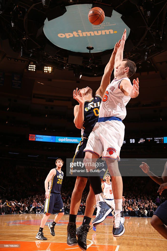 <a gi-track='captionPersonalityLinkClicked' href=/galleries/search?phrase=Steve+Novak&family=editorial&specificpeople=693015 ng-click='$event.stopPropagation()'>Steve Novak</a> #16 of the New York Knicks shoots against <a gi-track='captionPersonalityLinkClicked' href=/galleries/search?phrase=Enes+Kanter&family=editorial&specificpeople=5621416 ng-click='$event.stopPropagation()'>Enes Kanter</a> #0 of the Utah Jazz on March 9, 2013 at Madison Square Garden in New York City.