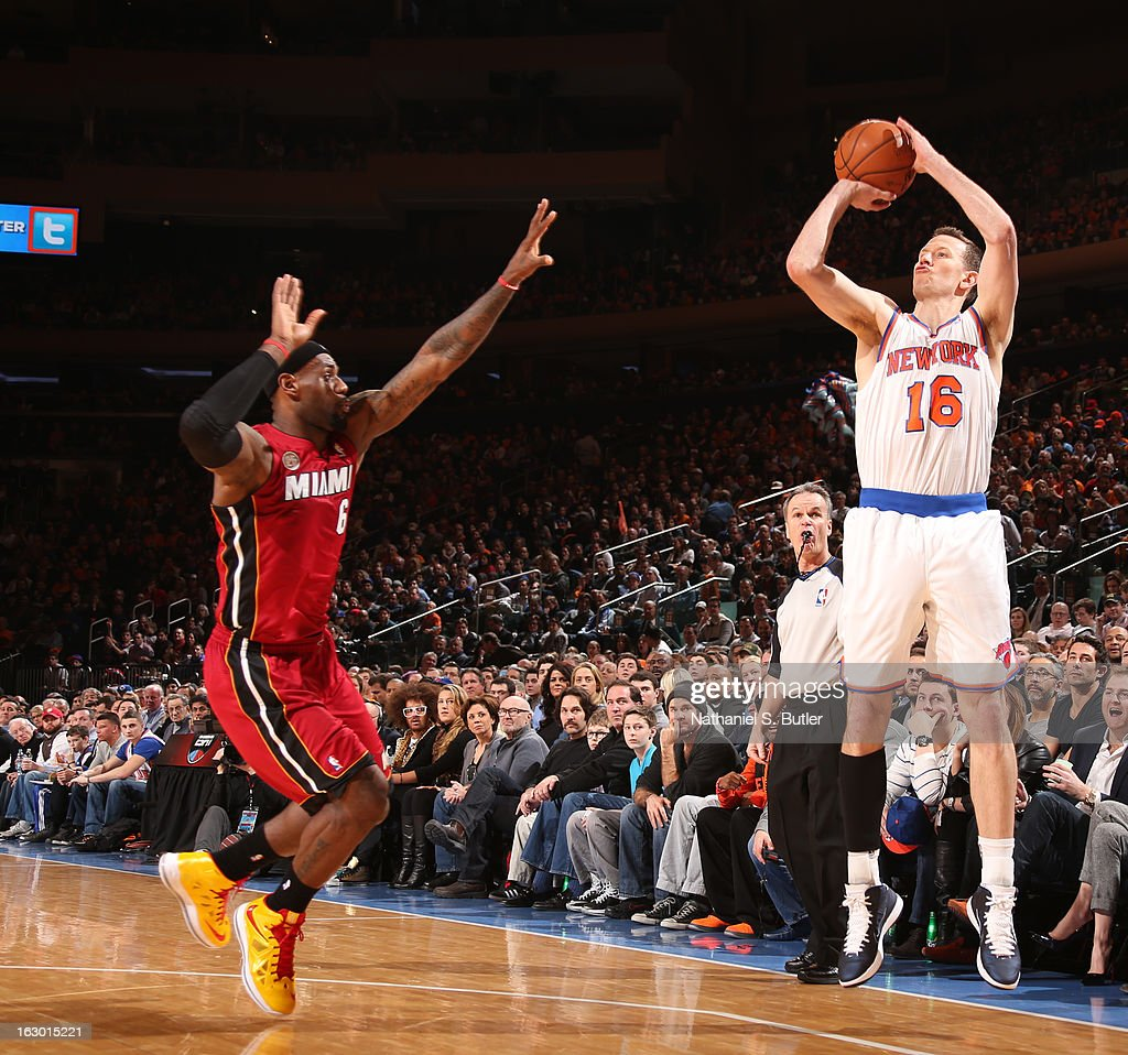 Steve Novak #16 of the New York Knicks shoots against LeBron James #6 of the Miami Heat on March 3, 2013 at Madison Square Garden in New York City.