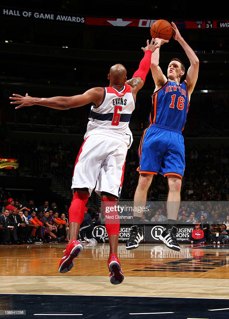<a gi-track='captionPersonalityLinkClicked' href=/galleries/search?phrase=Steve+Novak&family=editorial&specificpeople=693015 ng-click='$event.stopPropagation()'>Steve Novak</a> #16 of the New York Knicks shoots against <a gi-track='captionPersonalityLinkClicked' href=/galleries/search?phrase=Maurice+Evans&family=editorial&specificpeople=201677 ng-click='$event.stopPropagation()'>Maurice Evans</a> #6 of the Washington Wizards during the game at the Verizon Center on February 8, 2012 in Washington, DC.