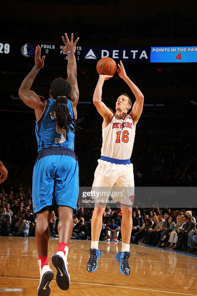 Steve Novak #16 of the New York Knicks shoots the ball against Jae Crowder #9 of the Dallas Mavericks during the game on November 9, 2012 at Madison Square Garden in New York City.