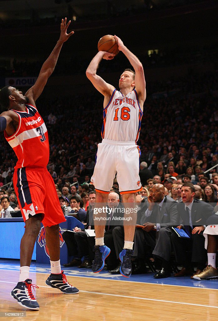 <a gi-track='captionPersonalityLinkClicked' href=/galleries/search?phrase=Steve+Novak&family=editorial&specificpeople=693015 ng-click='$event.stopPropagation()'>Steve Novak</a> #16 of the New York Knicks takes a jump shot over <a gi-track='captionPersonalityLinkClicked' href=/galleries/search?phrase=Chris+Singleton&family=editorial&specificpeople=241555 ng-click='$event.stopPropagation()'>Chris Singleton</a> #31 of the Washington Wizards during the game on April 13, 2012 at Madison Square Garden in New York City.